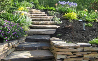 dry stacked stone walls, paths and steps